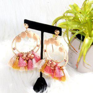 NWOT Boho Festive Tassel Pom Pom Hoop Earrings